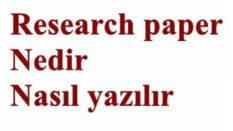 Research paper nedir nasıl yazılır, örnekler